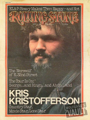 Kris Kristofferson Rolling Stone Magazine  on 25 Apr 74: Magazine