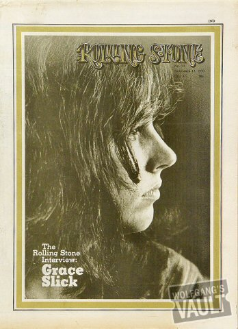 Grace Slick Rolling Stone Magazine  on 12 Nov 70: Magazine