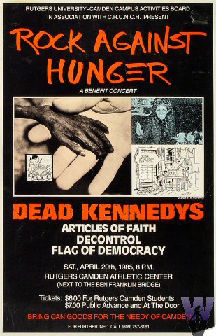 "Dead Kennedys Poster from Rutgers Camden Athletic Center on 20 Apr 85: 13"" x 20"""