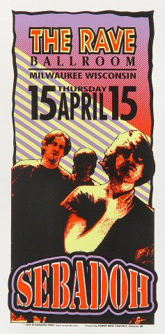 "Sebadoh Handbill from Rave Ballroom on 15 Apr 99: 4 1/4"" x 8 5/8"""