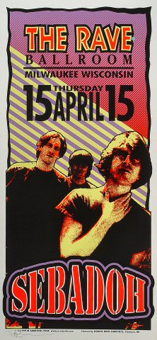 "Sebadoh Poster from Rave Ballroom on 15 Apr 99: 10 1/2"" x 22 1/4"""