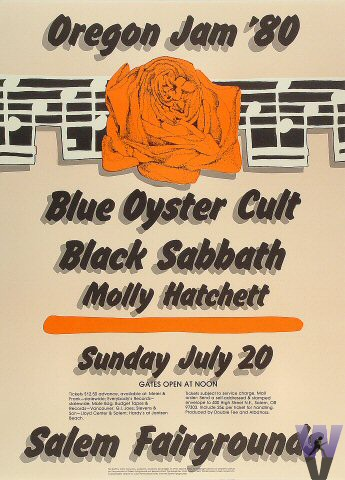"Blue Oyster Cult Poster from Salem Fairgrounds on 20 Jul 80: 16"" x 22"""