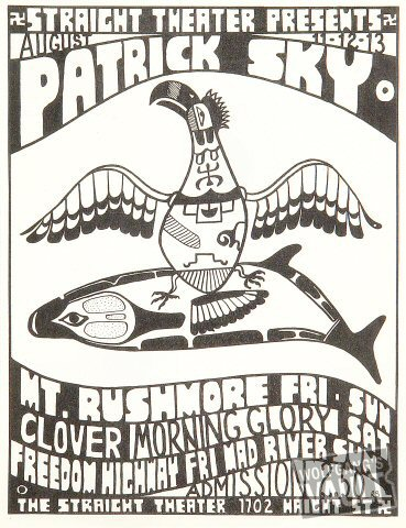 "Patrick Sky Handbill from Straight Theatre on 11 Aug 67: 8 1/2"" x 11"""