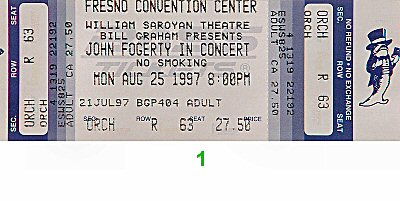 John Fogerty 1990s Ticket from Saroyan Theatre on 25 Aug 97: Ticket One
