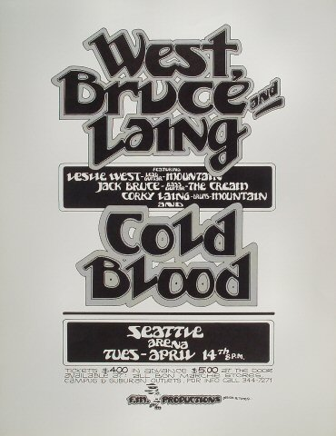 "West, Bruce & Laing Poster from Seattle Key Arena on 14 Apr 70: 17 1/2"" x 22 1/2"""