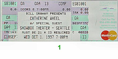 Catherine Wheel 1990s Ticket from Showbox on 01 Oct 97: Ticket One