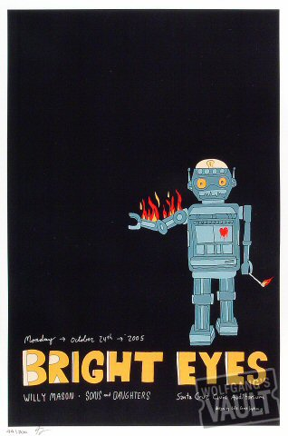 "Bright Eyes Poster from Santa Cruz Civic Auditorium on 24 Oct 05: 12"" x 18"""