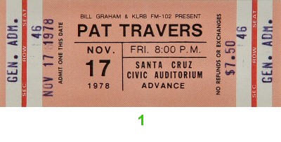 Pat Travers 1970s Ticket from Santa Cruz Civic Auditorium on 17 Nov 78: Ticket One