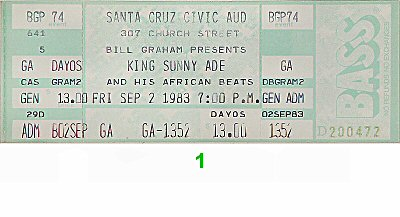King Sunny Ade 1980s Ticket from Santa Cruz Civic Auditorium on 02 Sep 83: Ticket One