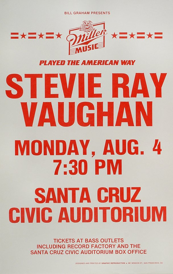 "Stevie Ray Vaughan Poster from Santa Cruz Civic Auditorium on 04 Aug 86: 14"" x 22"""