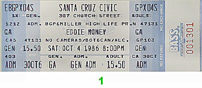 Eddie Money 1980s Ticket from Santa Cruz Civic Auditorium on 04 Oct 86: Ticket One