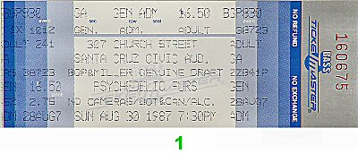 The Psychedelic Furs 1980s Ticket from Santa Cruz Civic Auditorium on 30 Aug 87: Ticket One