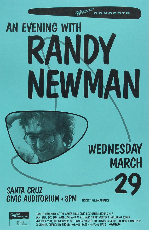 "Randy Newman Poster from Santa Cruz Civic Auditorium on 29 Mar 89: 11"" x 17"""