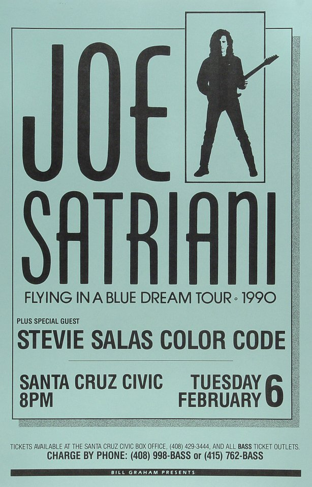 "Joe Satriani Poster from Santa Cruz Civic Auditorium on 06 Feb 90: 11"" x 17"""