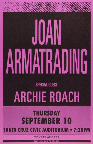 "Joan Armatrading Poster from Santa Cruz Civic Auditorium on 10 Sep 92: 11"" x 17"""