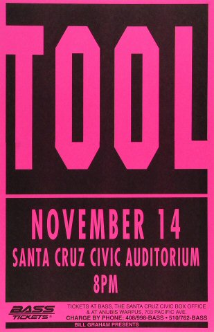 "Tool Poster from Santa Cruz Civic Auditorium on 14 Nov 94: 11"" x 17"""