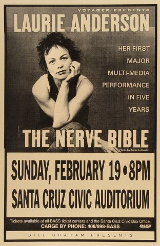 "Laurie Anderson Poster from Santa Cruz Civic Auditorium on 19 Feb 95: 11"" x 17"""