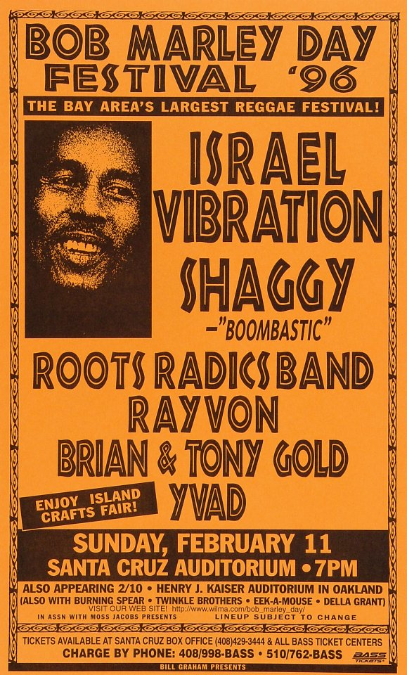 "Israel Vibration Poster from Santa Cruz Civic Auditorium on 11 Feb 96: 8 1/2"" x 14"""