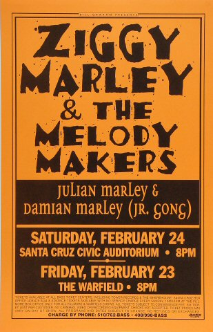 "Ziggy Marley & the Melody Makers Poster from Santa Cruz Civic Auditorium on 24 Feb 96: 11"" x 17"""