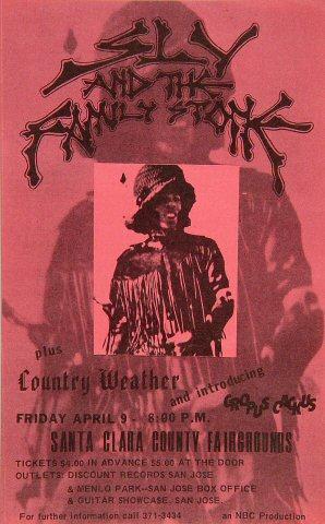 "Sly & the Family Stone Handbill from Santa Clara County Fairgrounds on 09 Apr 71: 5"" x 8"""