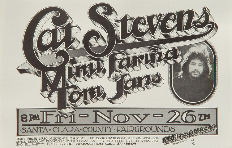 "Cat Stevens Handbill from Santa Clara County Fairgrounds on 26 Nov 71: 5 1/2"" x 8 1/2"""
