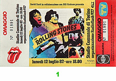 The Rolling Stones 1980s Ticket from Stadio Comunale on 12 Jul 82: Ticket One