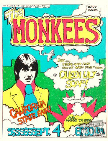 "The Monkees Handbill from Sacramento on 04 Sep 68: 5 1/8"" x 6 3/4"""
