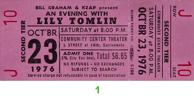 Lily Tomlin 1970s Ticket from Sacramento Community Theatre on 23 Oct 76: Ticket One