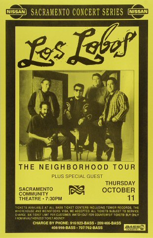 "Los Lobos Poster from Sacramento Community Theatre on 11 Oct 90: 11"" x 17"""