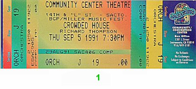 Crowded House 1990s Ticket from Sacramento Community Theatre on 05 Sep 91: Ticket One