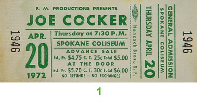 Joe Cocker 1970s Ticket from Spokane Coliseum on 20 Apr 72: Ticket One
