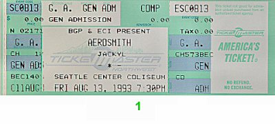 Aerosmith 1990s Ticket from Seattle Coliseum on 13 Aug 93: Ticket One