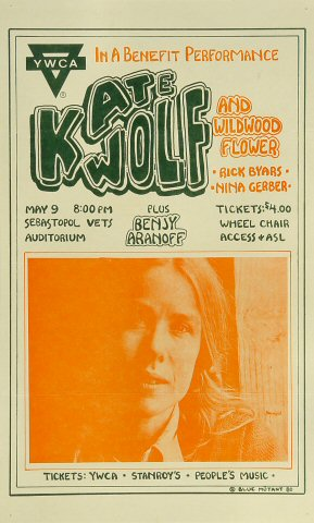 "Kate Wolf Poster from Sebastopol Vets Auditorium on 09 May 80: 8 1/2"" x 14"""