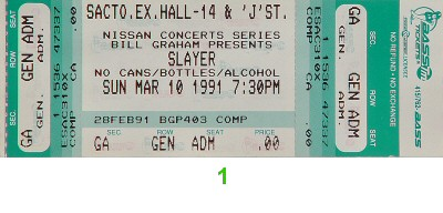 Slayer 1990s Ticket from Sacramento Exhibition Hall on 10 Mar 91: Ticket One