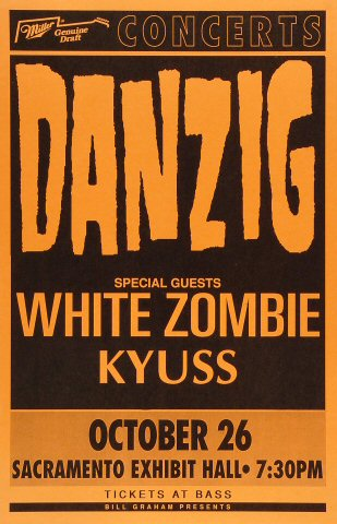 "Danzig Poster from Sacramento Exhibition Hall on 26 Oct 92: 11"" x 17"""
