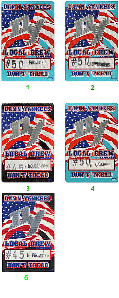 Damn Yankees Backstage Pass from Sacramento Exhibition Hall on 16 Feb 93: Pass 1