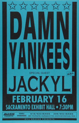 "Damn Yankees Poster from Sacramento Exhibition Hall on 16 Feb 93: 11"" x 17"""