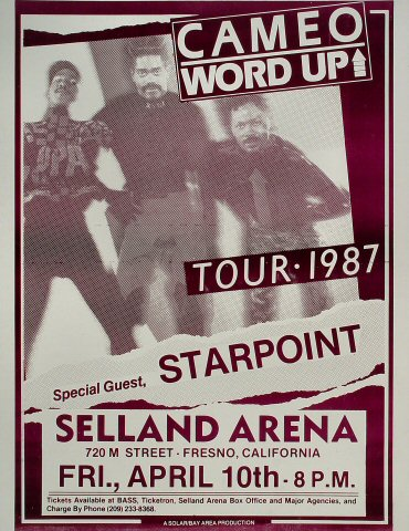"Cameo Poster from Selland Arena on 10 Apr 87: 17"" x 22"""