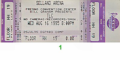 TLC 1990s Ticket from Selland Arena on 16 Aug 95: Ticket One