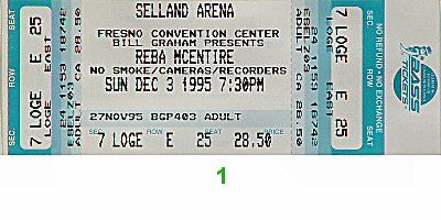 Reba McEntire 1990s Ticket from Selland Arena on 03 Dec 95: Ticket One