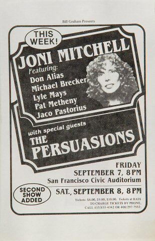 "Joni Mitchell Handbill from San Francisco Civic Auditorium on 07 Sep 79: 5 1/2"" x 8 1/2"""