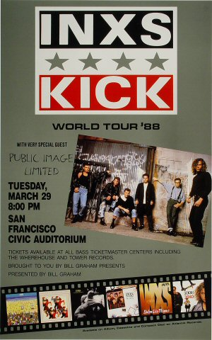 "INXS Poster from San Francisco Civic Auditorium on 29 Mar 88: 14"" x 22"""