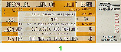INXS 1980s Ticket from San Francisco Civic Auditorium on 29 Mar 88: Ticket One