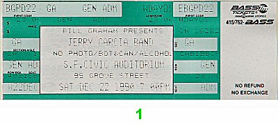 Jerry Garcia Band 1990s Ticket from San Francisco Civic Auditorium on 22 Dec 90: Ticket One
