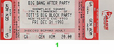 Chris Isaak 1990s Ticket from Fashion Center on 31 Dec 93: Ticket One