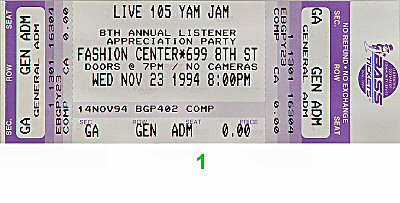 Big Audio Dynamite 1990s Ticket from Fashion Center on 23 Nov 94: Ticket One