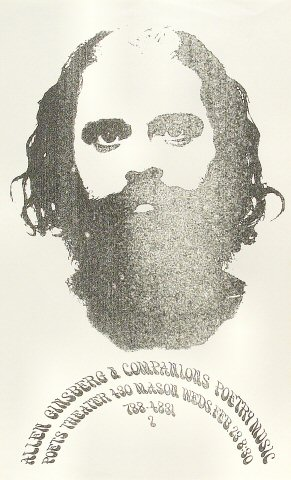 "Allen Ginsberg Poster from Poets Theater on 23 Feb 66: 8 1/2"" x 14"""