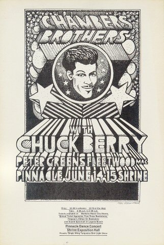 "The Chambers Brothers Handbill from Shrine Auditorium on 14 Jun 68: 8"" x 12"""