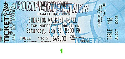 Tower of Power Post 2000 Ticket from Sheraton Waikiki Hotel on 25 Jan 03: Ticket One