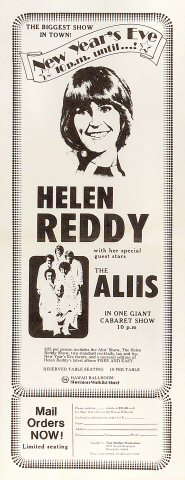 Helen Reddy Poster from Sheraton Waikiki Hotel on 31 Dec 74: 6 1/2&quot; x 16 1/2&quot;